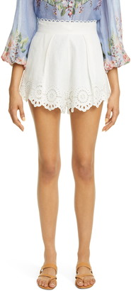 Zimmermann Bellitude Scalloped Eyelet Linen Shorts