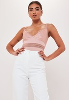 Missguided Petite Pink Satin Lace Bodysuit