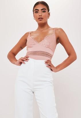 Missguided Petite Pink Satin Lace Bodysuit