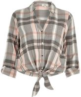 River Island Womens Pink check tie knot front shirt