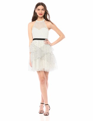 BCBGMAXAZRIA Azria Women's Dot Ruffle Halter Dress