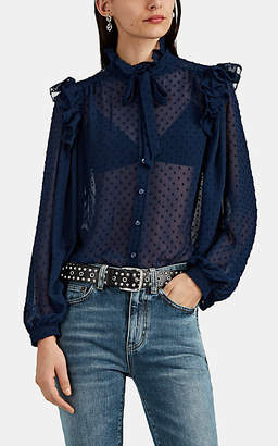 Icons Objects of Devotion Women's Ruffle-Trimmed Swiss Dot Chiffon Button-Front Blouse - Navy