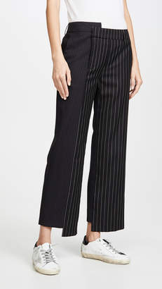 Monse Two Tone Pinstripe Asymmetrical Pants