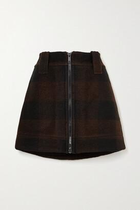 Ganni Checked Wool-blend Mini Skirt