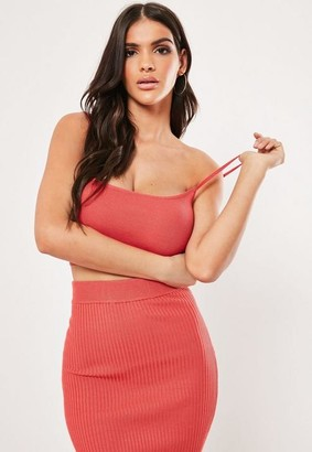 Missguided Coral Co Ord Cami Knit Bralet