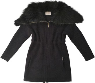 Yves Salomon Navy Fur Coat for Women