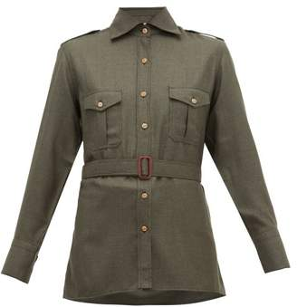 Giuliva Heritage Collection The Aurora Silk-blend Twill Shirt - Womens - Dark Green