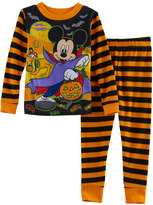 Disney Disney's Mickey Mouse Toddler Boy Striped Halloween Glow in the Dark Top & Pants Pajama Set