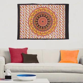 Oussum Boho Elephant Mandala Cotton Tapestry Wall Hanging Decor Poster Throw