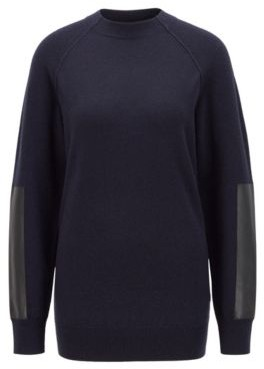 HUGO BOSS Wool Blend Sweater With Faux Leather Sleeve Patches - Light Blue