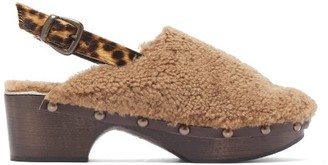 BEIGE Avec Moderation - Ruka Shearling And Calf Hair Clogs - Womens