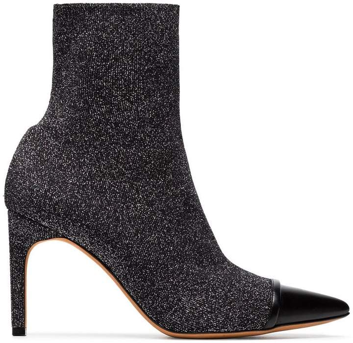 Givenchy Black Graphic 90 lurex sock boots