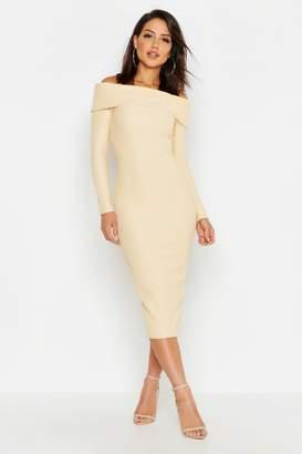 boohoo Off Shoulder Fold Over Rib Bodycon Midi Dress