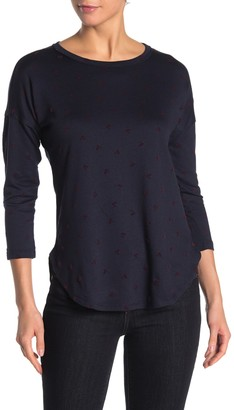 Bobeau Flocked 3/4 Sleeve Tunic (Regular & Petite)