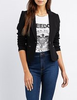 Charlotte Russe Faux Leather-Trim Blazer