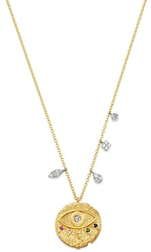 Meira T 14K White Gold & 14K Yellow Gold Multi-Gemstone & Diamond Evil Eye Pendant Necklace, 16-18