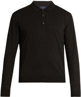 Lanvin Contrast-sleeve silk-blend knit polo shirt