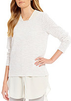 Eileen Fisher Cotton Slub Bateau Neck Long Sleeve Top