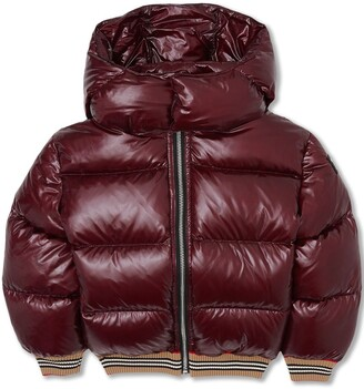 Burberry Icon stripe detail hooded puffer jacket