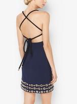 Michael Kors Grommeted Crepe-Broadcloth Halter Dress