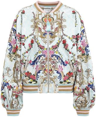 Camilla Versailles Sky Embellished Silk-satin Bomber Jacket