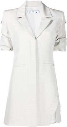 Off-White Button-Front Shirt Dress