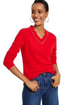 Charter Club Imitation Pearl Inset V-Neck Cashmere Sweater, Created For Macy's