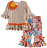 Rare Editions Baby Girl Striped Flower Applique Top & Patterned Bell Bottom Leggings Set