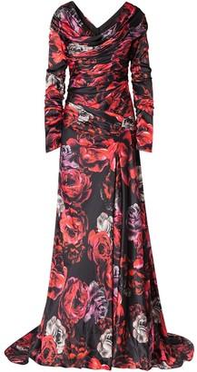 Dolce & Gabbana Rose-Print Charmeuse Evening Dress