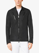 Michael Kors Leather-Trim Nylon Moto Jacket