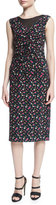 Nina Ricci Sleeveless Ruched-Front Floral-Print Dress, Black