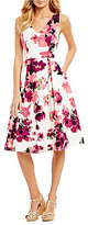Adrianna Papell Printed Cotton Faille Fit & Flare Midi Dress