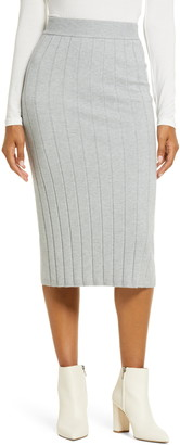 Rachel Parcell Easy Ribbed Midi Sweater Skirt