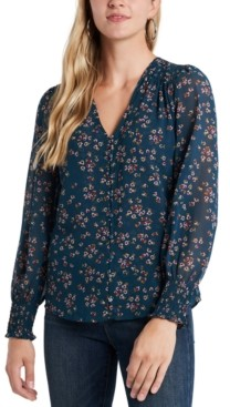 1 STATE Floral-Printed Smocked Button-Front Blouse