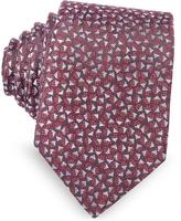 Lanvin Burgundy Geometric Square Patterned Woven Silk Tie