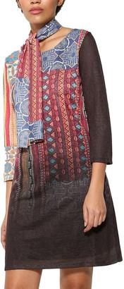 Desigual Women's Caly Woman Knitted 3/4 Sleeve Dress_Carmine XXL