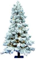 The Holiday Aisle Flocked 7' Spruce Artificial Christmas Tree with 886 PVC Tips and 400 Warm White Dura-Lit LED Lights