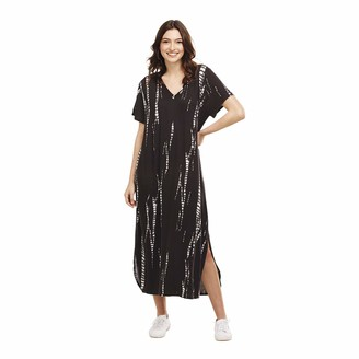 Mud Pie Women's JoJo Midi Dress Black Tie Dye (Small)