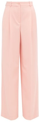 Racil Peter High-rise Wool-twill Palazzo Trousers - Womens - Pink
