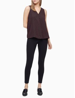 Calvin Klein Polka Dot V-Neck Sleeveless Top