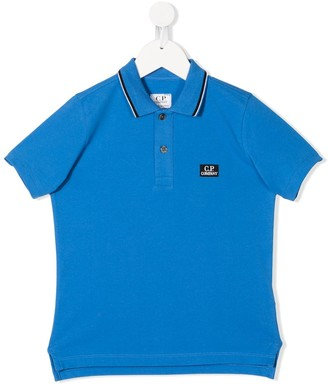C.P. Company Kids logo patch short-sleeved polo shirt
