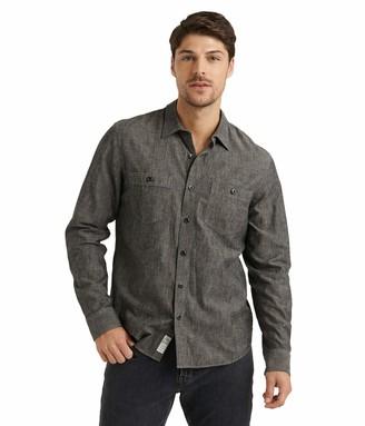 Lucky Brand Men's Long Sleeve Button Up Two Pocket Jaybird Workwear Shirt