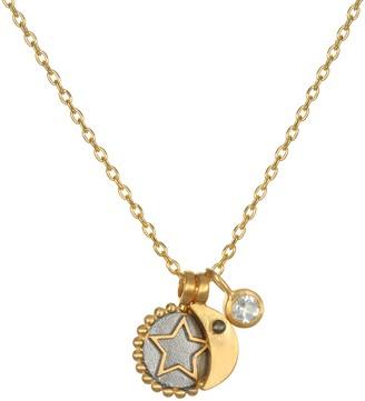 Satya 0.65 cttw White Topaz Star & Moon Necklace