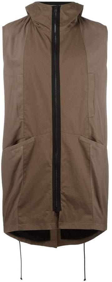 Isabel Benenato zipped sleeveless coat