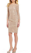 Marina High Neck 3/4 Sleeve V-Back Sequined Lace Tiered Sheath Dress