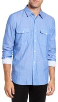 French Connection Men's Double Chambray Regular Fit Cotton Sport Shirt
