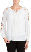 Peter Nygard Tie-Neck Long Sleeve Solid Peasant Blouse