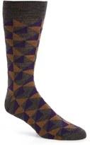 Lorenzo Uomo Men's Geometric Merino Wool Blend Socks