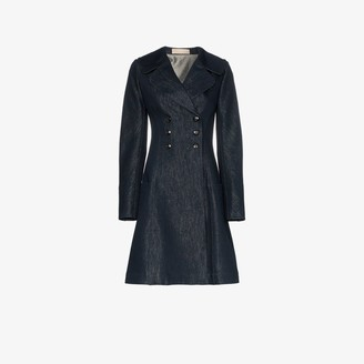 Alaia Flared Double-Breasted Denim Coat