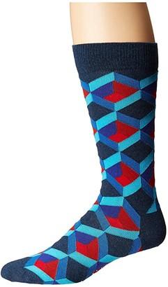 Happy Socks Optic Square Sock (Navy/Red) Men's Crew Cut Socks Shoes
